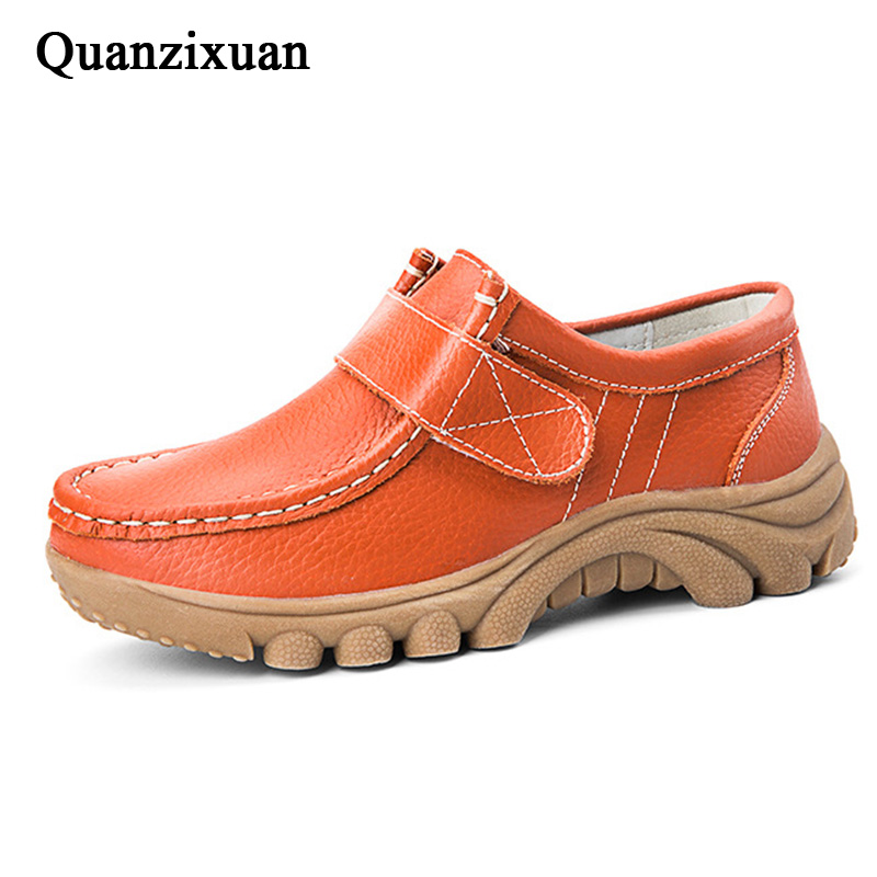 QUANZIXUAN Genuine Leather Women Flat Shoes 2018 New Women Loafers Shoes Winter Keep Warm Fur Snow Shoes Women Plus Size 35-41 aiyuqi plus size 41 42 43 women s flat shoes 2018 spring new genuine leather women shoes soft surface mom shoes women
