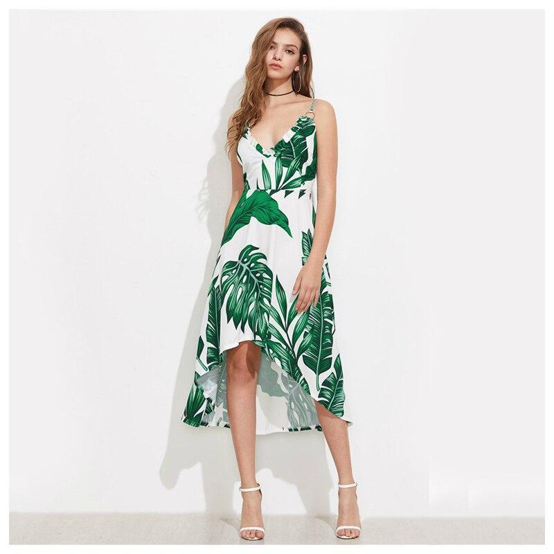 6d8d4289f1 Women Green Palm Leaf Banana Leaf Print Summer Beach Dress Green V-Neck  Ruffle Trim