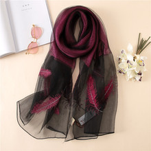 купить 2019 luxury brand New silk scarf women shawl wrap high quality wool scarves fashion Feather embroidery pashmina bufanda mujer дешево