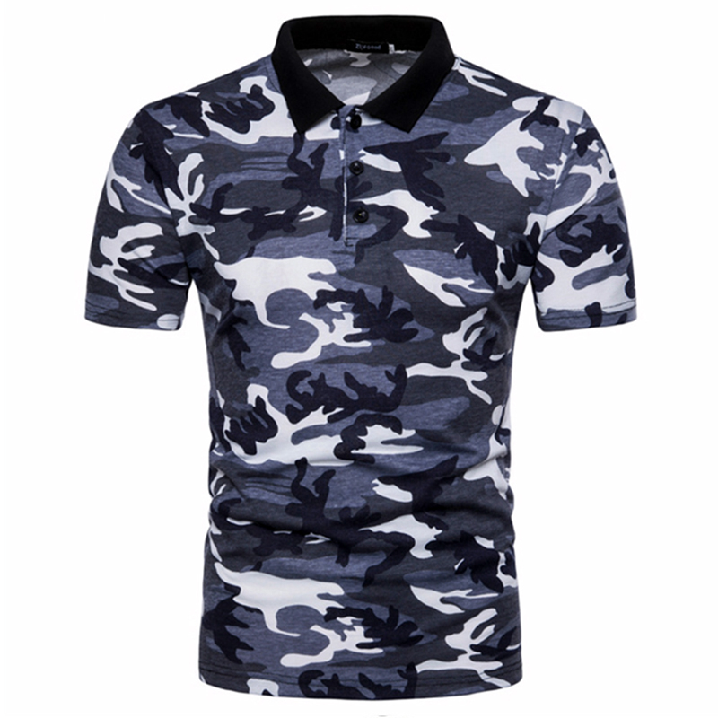 Men's Top Regular Gradient Print Breathable Cotton Short Sleeve 2018 Spring And Summer New Casual Camouflage Polo Shirt 29