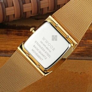 Image 5 - WWOOR relojes de marca de lujo para hombre, reloj masculino de pulsera cuadrado de cuarzo dorado, resistente al agua, 2019