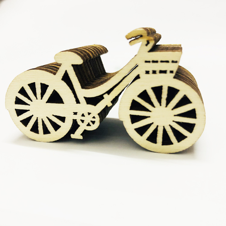 Wooden-Chip Embellishments Wedding-Ornaments Diy-Crafts Bicycle-Shapes for 10pcs Crafts-Supplies