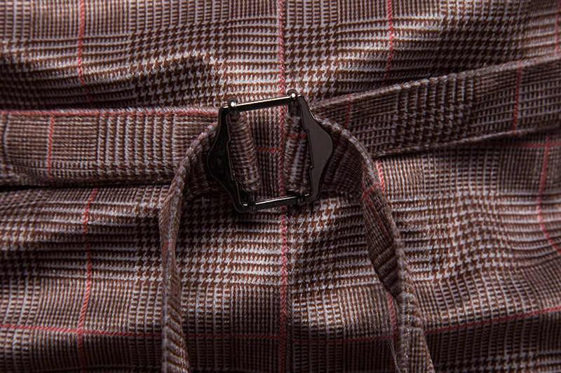 Классический Клетчатый плед двубортная мужская жилетка 2019 Новый повседневный деловой жилет Мужская Свадебная вечеринка платье жилеты