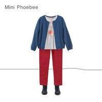 Бренд От 2 до 8 лет комплекты одежды для девочек включают зимние из шерсти мериноса свитер хлопок Рубашки для мальчиков красного цвета для де