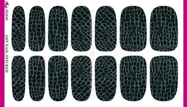 3D Black Background Dark Green font b Tartan b font Water Transfer Design Nails Stickers Manicure