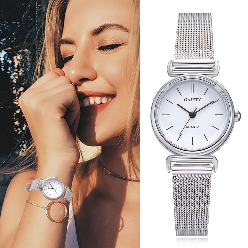 Gaiety New Fashion Women Stainless Steel Silver Gold Mesh Watch Unique Simple Watches Casual Quartz Wristwatches Clock Hot Sale