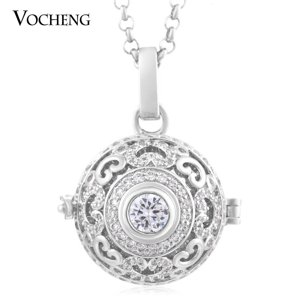 Vocheng Mexican Chime Luxury 3 Colors Heart Cubic Zirconia Plating Stainless Steel Chain Necklace VA-216