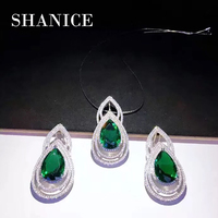 SHANICE Luxury Dangling Drop Red Blue Green Cubic Zirconia Party Jewery Nigerian African Big Wedding Necklace Sets For Brides