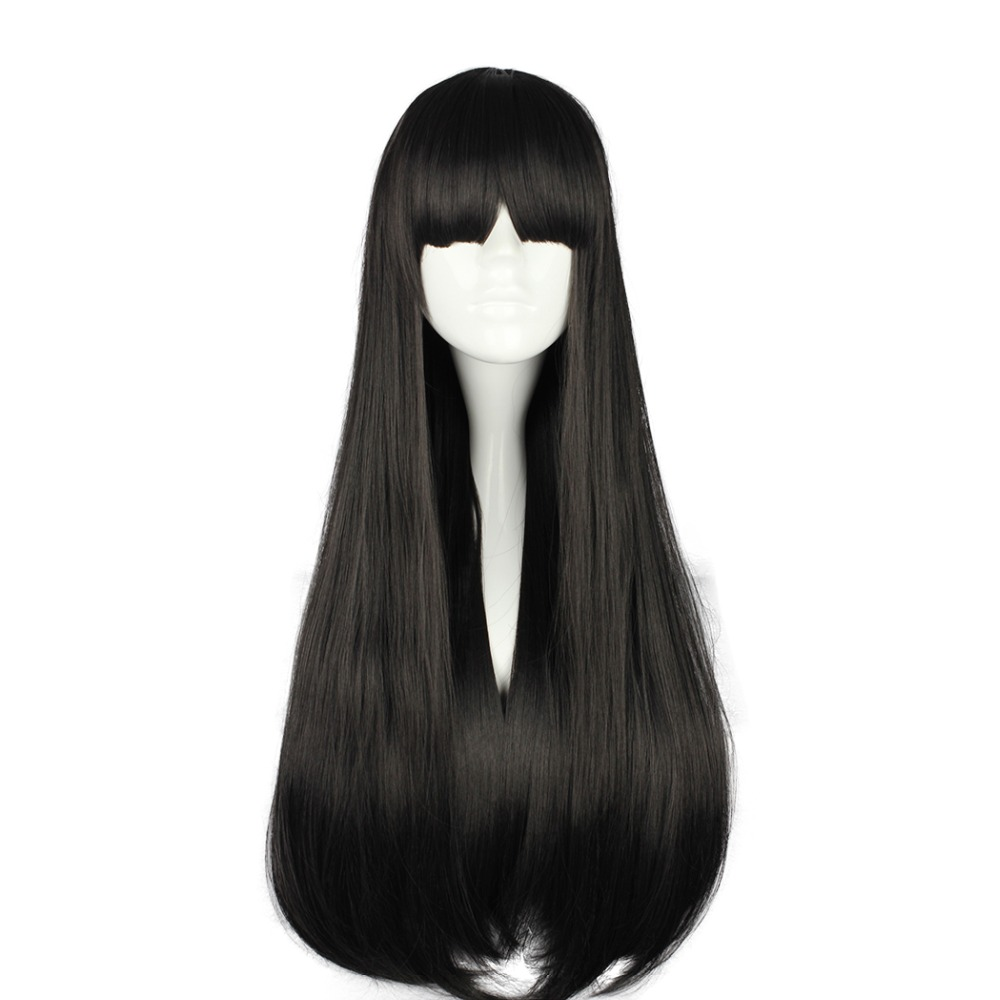 MCOSER Free Shipping  70 CM Long Straight Hair Synthetic Cosplay  Wig Black Color  100% High Temperature Fiber Hair WIG-398A