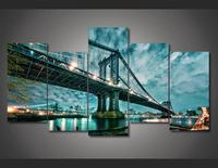 Beautiful Brooklyn Manhattan Bridge Nightscape Wall Painting Charming Night Landscape Modular Wall Picture Painting By Numers