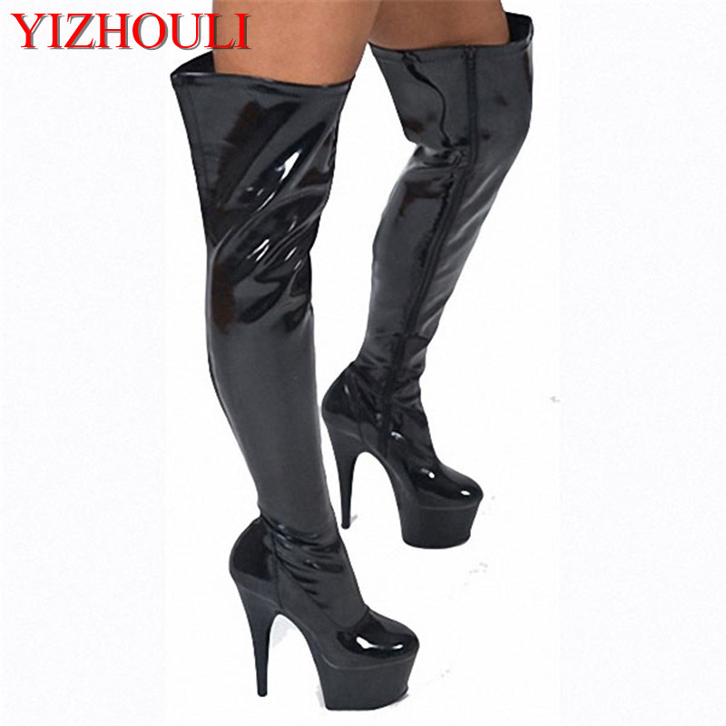 black 15cm high heel thigh high boots for women zipper motorcycle boots Hand Made High Heel Shoes tall sexy pole dancing boots