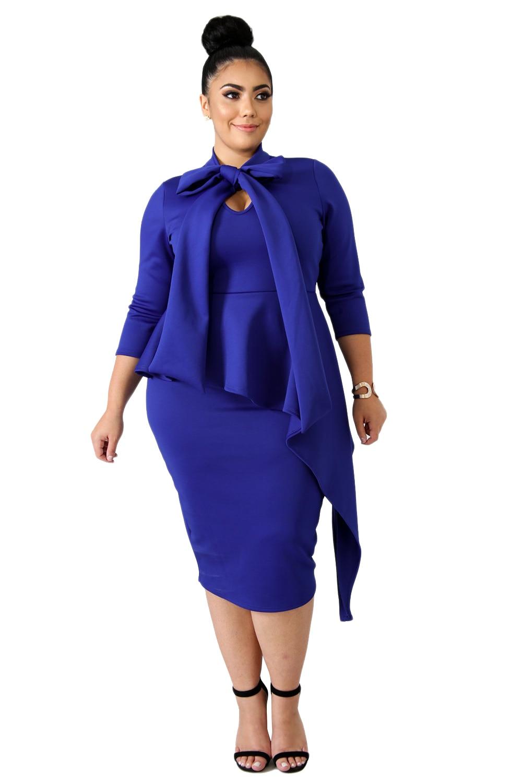 Blue-Bowknot-Mock-Neck-Plus-Size-Bodycon-Dress-LC610372-5-1