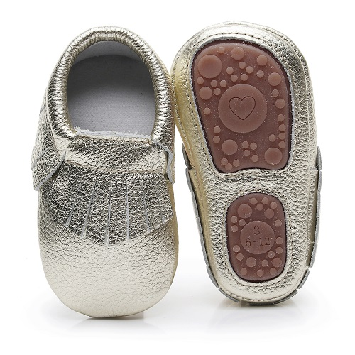 2018 new style genuine leather fringe Newborn baby shoes rubber bottom toddler baby moccasins Non-slip Prewalker baby shoes