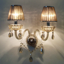 где купить Modern Crystal Wall Lamps with Two Coffee Shade Dining Room Bedroom Wall Sconce Fixture Cognac 2-Light Free Shipping by EMS по лучшей цене