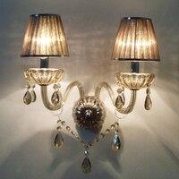 Arandela Externa Modern Crystal Wall Lamps Sconce Bedside Reading Lamp Dining Room Bedroom Wall Sconce Fixture Cognac 2 Light