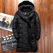 Брендовая длинная мужская куртка-пуховик, сохраняющая тепло, толстая теплая зимняя куртка для мужчин, высокое качество, белая куртка-пуховик на утином пуху, мужское длинное пальто