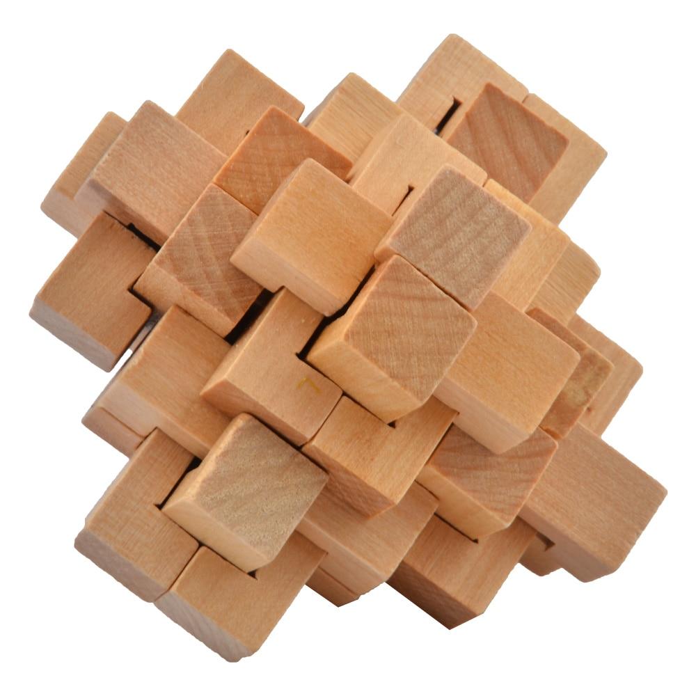 IQ Brain Teaser Kong Ming Lock Wooden Interlocking Burr.3D Puzzles Game Toy BR