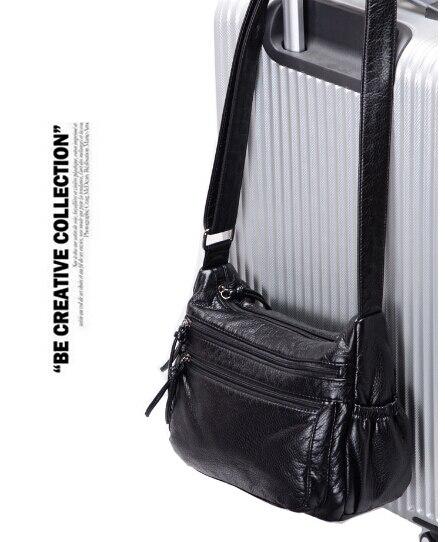 Mode femmes de waterwashed en cuir petit sac à main d'épaule occasionnel de messager petit sac à main femelle noir couleur Q-5986UIIU