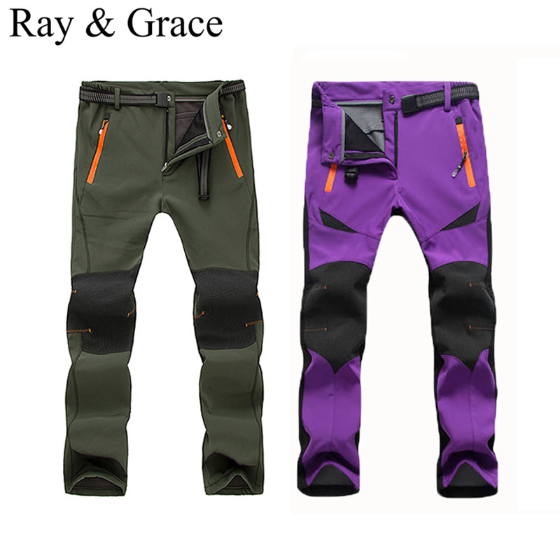 ФОТО Waterproof Soft shell Winter Hiking Pants Men Camping Trekking Thermal Fleece Warm Ski Trousers Women Plus size Polartec Pants