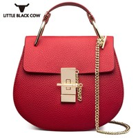 Small Shoulder Bag Female 2019 Fashion New Style Red Chain Ladies Genuine Leather Sling Bag Cover Mini Crossbody Women Bags Hot