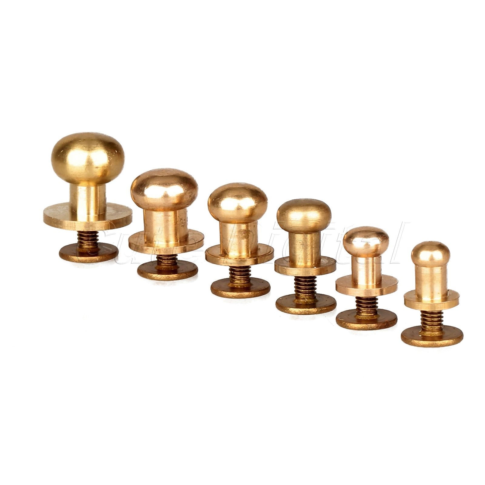 60pcs/Set 6 Size 5mm -10mm Antique Solid Brass Screw In Button Head Studs Sam Browne Screws Nail Rivets Leather Craft Tool 20pcs m3 6 m3 x 6mm aluminum anodized hex socket button head screw