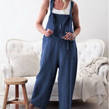 Women Sleeveless Pockets Dungaree Baggy Jumpsuits Overalls Fashion Strappy Loose