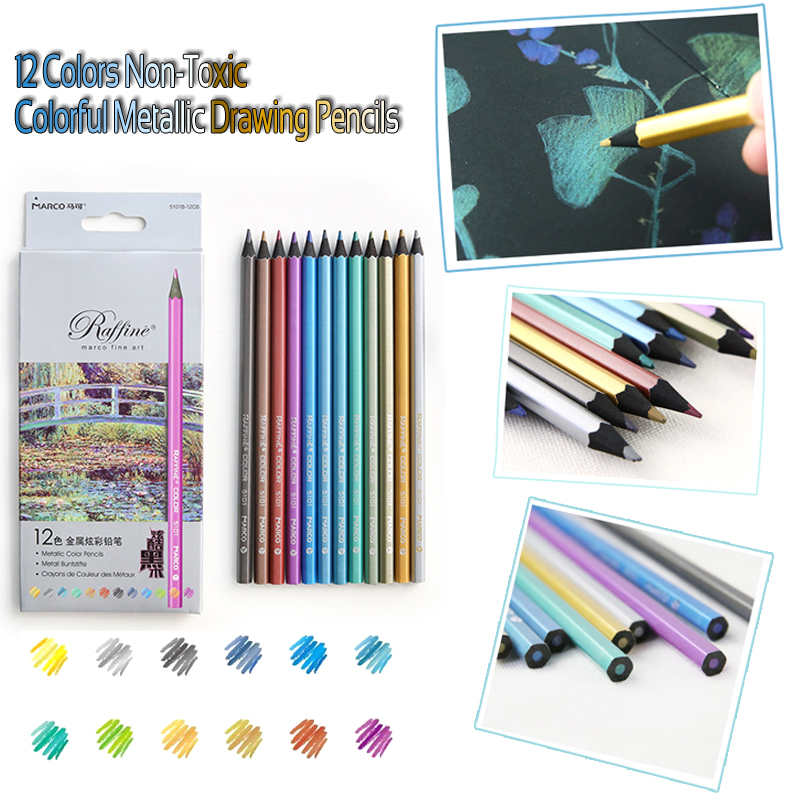 273 26 De Descuento12 Colores Metálicos No Tóxicos Dibujo Lápices De Colores Lapiz De Profesionales De La Pintura Del Artista Lápiz De Color Para