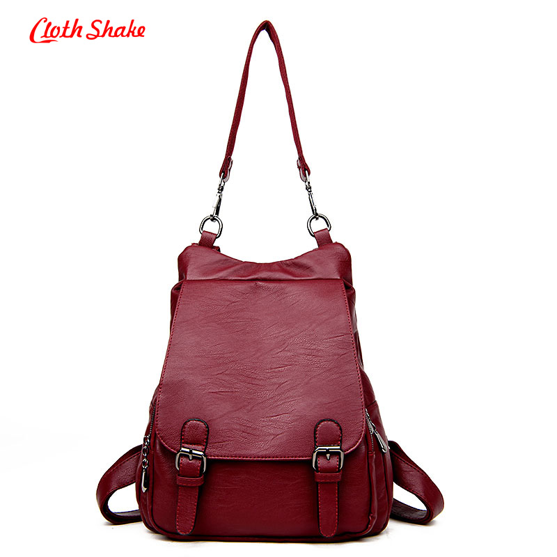 Cloth Shake Summer New Fashion Women Backpacks Soft PU Leather Schoolbags For Girls Female Leisure Bag mochilas Multi-purpose korean women backpacks travel package black soft pu leather shoulder bag schoolbags for teenage girls female leisure bag mochila