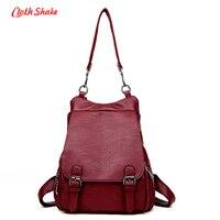 Cloth Shake Summer New Fashion Women Backpacks Soft PU Leather Schoolbags For Girls Female Leisure Bag