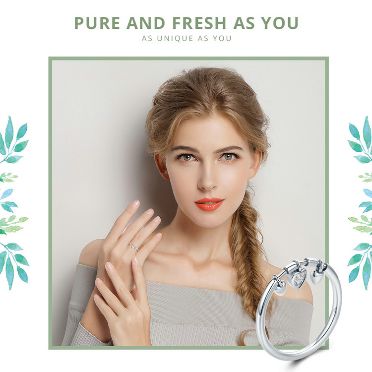Glittering heart-shaped transparent female ring for women's wedding engagement CLOVER JEWELLERY