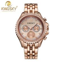 Reloj de Cuarzo de Las Mujeres-KINGSKY reloj de la Nueva Llegada de Las Nuevas Mujeres Casual Relojes de Oro Rosa Marca Famoso Reloj de Moda Del Cuarzo de Japón Mujer
