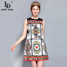 LD LINDA DELLA New Fashion Designer Runway Summer Dress Womens Sleeveless Tank Vintage Poker Printed Mini Short
