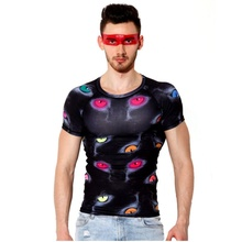 Male Short Sleeve Underwear Clothing Printing Quick-Drying Tights T Shirt Exercise Bodybuilding Compression Tee Shirt j2