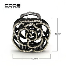 цена на Acetate Flower Rose Hair Claws Luxury Rhinestone Barrette Crab Hair Accessories Hairpin for Women Hollow Out Girls Hair Clips