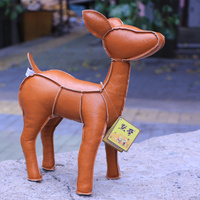 high quality goods, 33cm PU leather sika deer plush toy,Christmas gift h45