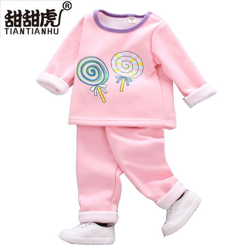 2018 New Winter Spring Warm Pajamas Tracksuits Baby Kids Woolen Cartoon Clothes Sets Children Shirt Pants Clothes for Infant Gir