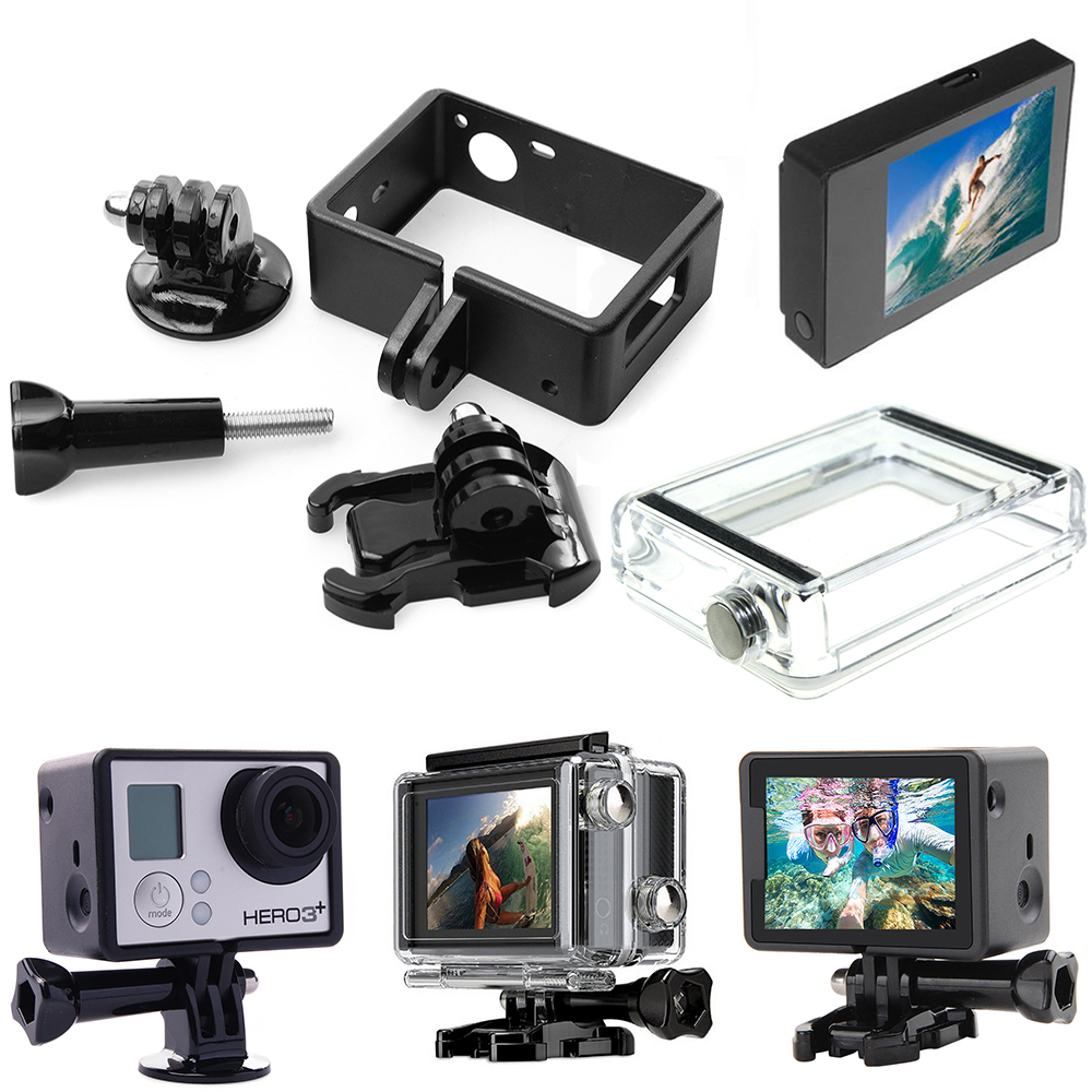 LCD Screen BacPac Display For GoPro Hero 3/3+/4+Expanded Frame+Buckle Mount+Adapter+Backdoor Case Cover For GoPro Hero4 Hero 3+3 bz j shape fast assembling mount buckle w screw for gopro hero 2 3 3 grey