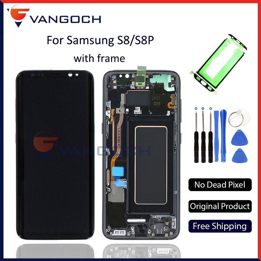 100% D'origine Super Amoled LCD Écran pour Samsung Galaxy S8 Affichage G950 S8 Plus G955 Assemblée de Remplacement avec cadre