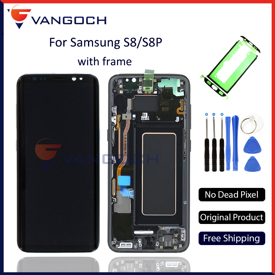 100% Originale Super Amoled Schermo LCD per Samsung Galaxy S8 Display G950 S8 Più G955 Assemblea di Ricambio con telaio