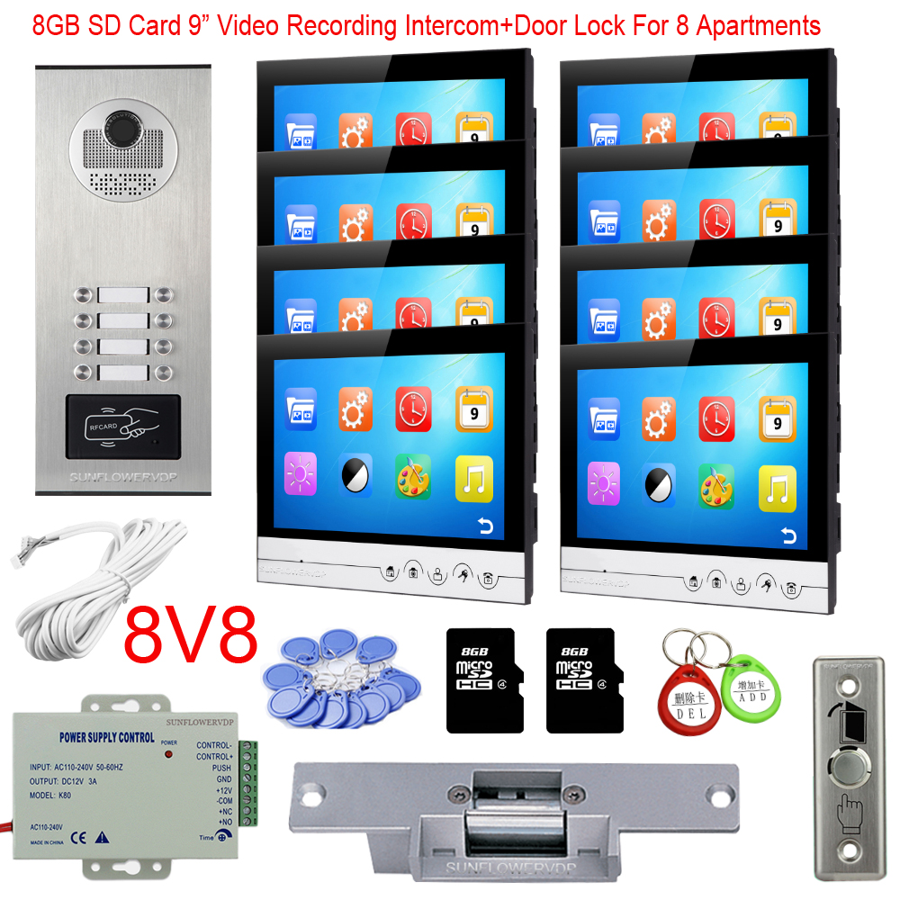 Rfid Camera 8/10/12 Call Buttons Interphone With Camera 8GB Video Recording 9