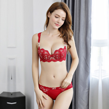 Japanese Deep V Push Up Lace Floar Bra and Panty Set