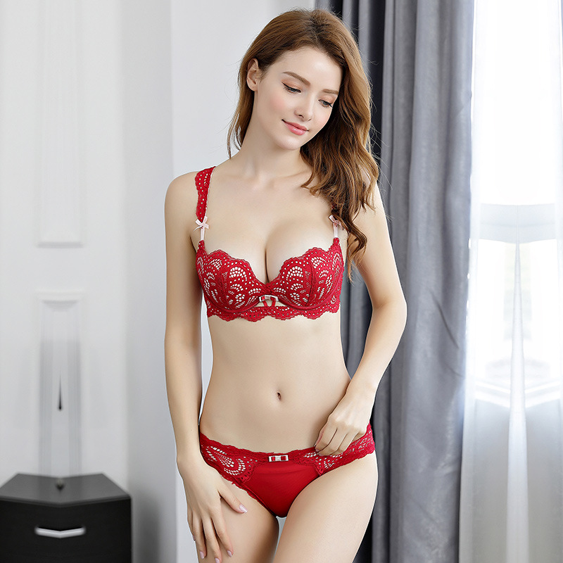 Japanese Deep V Push Up Lace Floar  Bra and Panty Set Sexy Lingerie Soft Breathable Cup Elastic Straps Bow Soutien Gorge