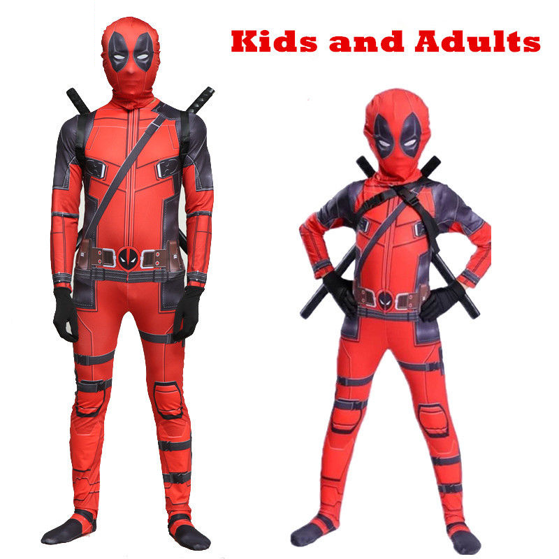 Kids Deadpool Man Spandex Lycra Zentai Halloween Costume Cosplay Prop Dress Up Suit