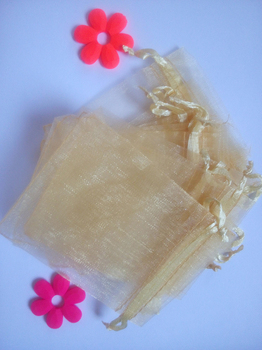 500pcs 17*23cm Gold Organza gift bag jewelry packaging display bags Drawstring pouch for bracelet/necklace mini Yarn bag