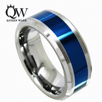 Queenwish Men Wedding Ring Tungsten Ring Blue Polished Center Brushed 8mm Titanium Color Statement Luxury