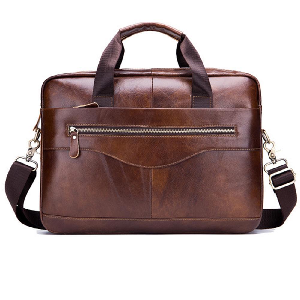Vintage Solid Color Men's Business Leather Briefcase Tote Shoulder Laptop Bag