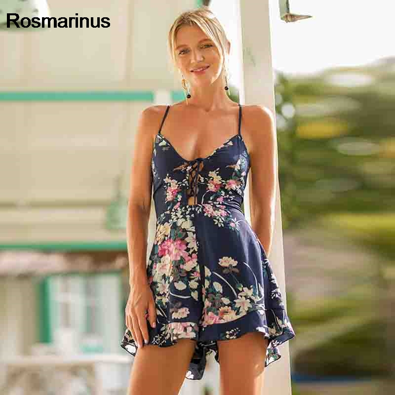 Summer Rompers Women Playsuit 2018 Floral Print Boho Jumpsuit Hollow Out V Neck Cross Backless Strap Sexy Beach Shorts Jumpsuit