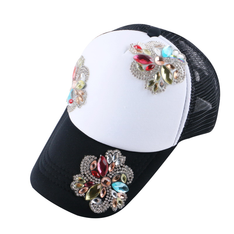 new design beauty floral summer baby baseball cap girl women 54CM size mesh rhinestone brand snapback children gorras hats
