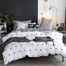 Home Textile 3 And 4 Sets Fashion Heart Bed Set Polyester Soft Bedding Black Twin