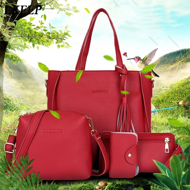 Mulheres Top-Handle Bags Composto Fêmea Mulheres Sacos Sacos Do Mensageiro Conjunto Bolsa de Couro PU Carteiras Chave Conjunto de Saco